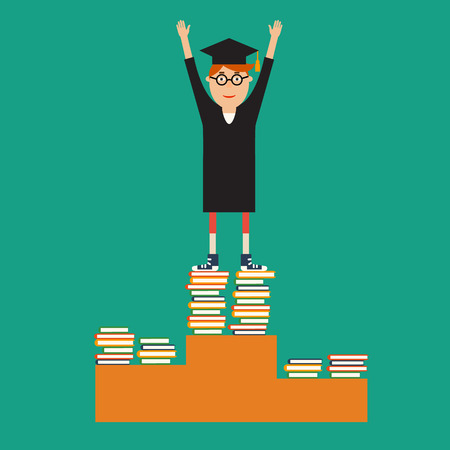 educational concept in flat style. Graduate glasses, robes and a hat standing on the top step of the podium with arms raised, graduating high school, college