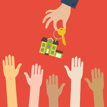 real estate concept in flat style - hand real estate agent holding holds a key with a tag in the form of homes, and buyers with different color skin are pulling hands. Demand and supply