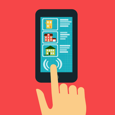 real estate concept. Hand showing on the smartphone with a site that sold or rented the houses Ilustrace
