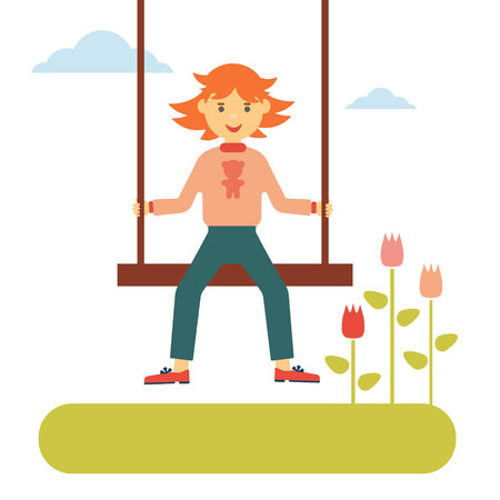 flat spring concept. Red-haired girl swinging on a swing, next grow tulips