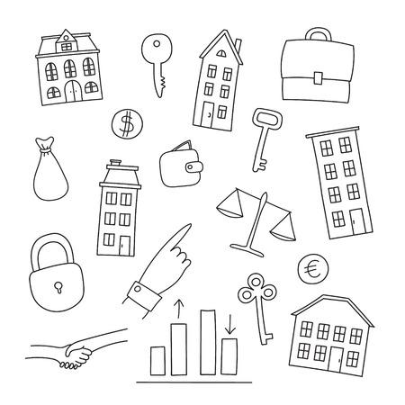 rent index: Set of  real estate icons - multi-storey building, cottage, key, lock, deal, handshake, money bag Illustration