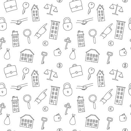 rent index: seamless pattern of freehand real estate icons - multi-storey building, cottage, key, lock, deal, handshake, money bag Illustration
