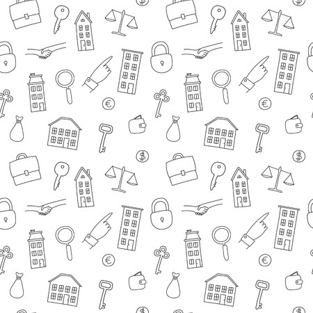 seamless pattern of freehand real estate icons - multi-storey building, cottage, key, lock, deal, handshake, money bag Ilustrace