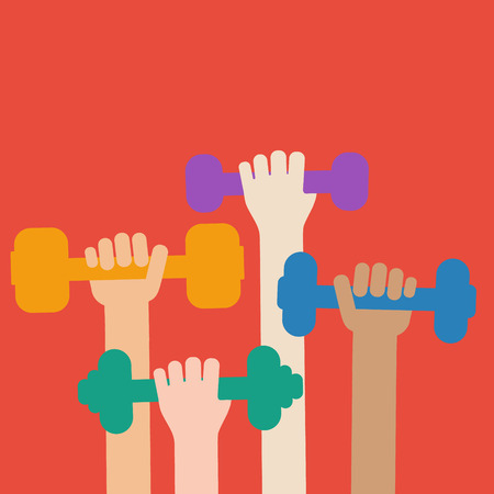 concept sports. Hands holding dumbbells. Gym. A healthy lifestyle