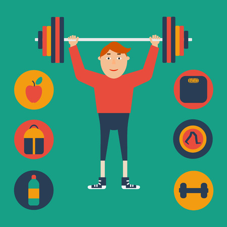 flat concept sports. Athlete with raised stagey, around a set of flat items of a healthy lifestyle and sports