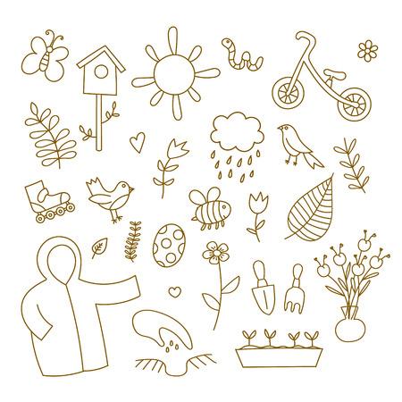 spring balance: Spring doodles set.  flowers, sun, bird, cloud with rain, a raincoat, a balance bike, birdhouse. Cute background