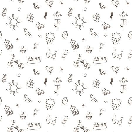 spring balance: Spring doodles set.  flowers, sun, bird, cloud with rain, a raincoat, a balance bike, birdhouse. Cute background, seamless pattern Illustration