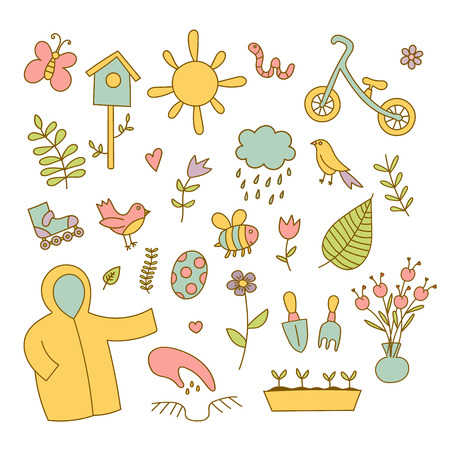 Spring doodles color set. flowers, sun, bird, cloud with rain, a raincoat, a balance bike, birdhouse. Cute background Ilustrace