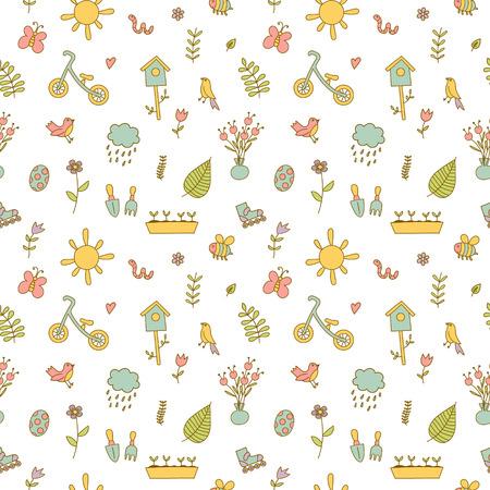 gusano caricatura: garabatos primavera conjunto de colores. flores, sol, p�jaros, nubes de lluvia, un impermeable, una bicicleta de equilibrio, birdhouse. Fondo lindo, modelo incons�til