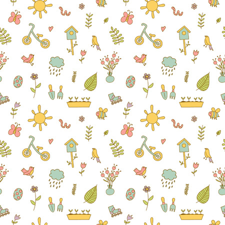 Spring doodles color set.  flowers, sun, bird, cloud with rain, a raincoat, a balance bike, birdhouse. Cute background, seamless pattern
