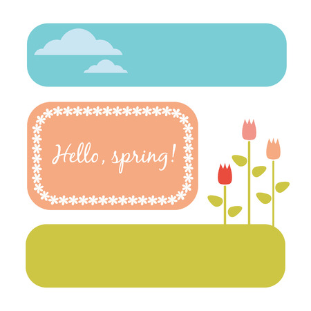 Simple templates. Spring concept with tulips and clouds