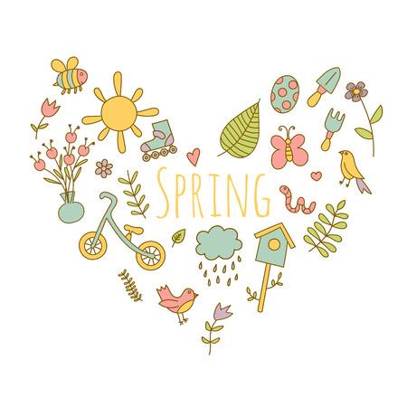 spring balance: Spring doodle set colorful heart shaped. flowers, sun, bird, cloud with rain, a raincoat, a balance bike, birdhouse. Cute background Illustration
