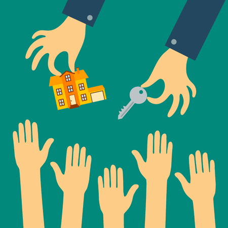 Vector flat concept of real estate. Agent sells a house with agiotage