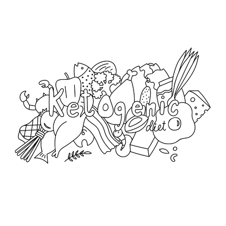 Doodle concept of ketogenic diet name Ilustrace