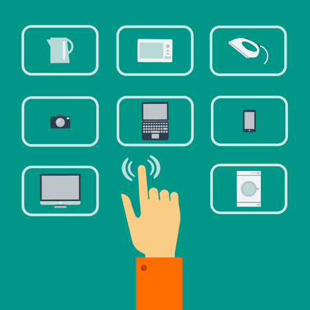 Vector flat concept of online store. Choice of computer and household appliances