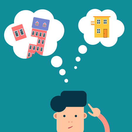Vector flat man thinking about choosing real estate - to buy or rent a house or apartment
