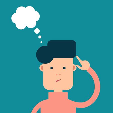 Vektor flache Mann Gedanken über etwas, eine Wolke von Gedanken