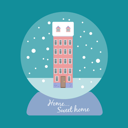 Cute vector snow ball with a multi-storey house and the words home home sweet home