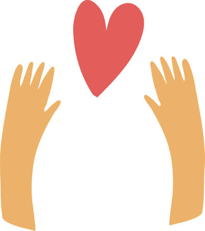 Hands that reach for the heart. Symbol of love and care Ilustrace