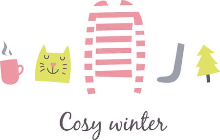 Simple cosy winter nice set of huge Ilustrace