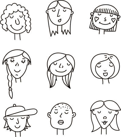 Collection of cute simple doodle womens faces