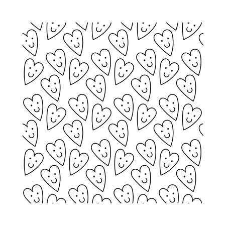 Simple cute black and white pattern with smiling hearts