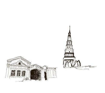 belfry: belfry. set of vector sketches