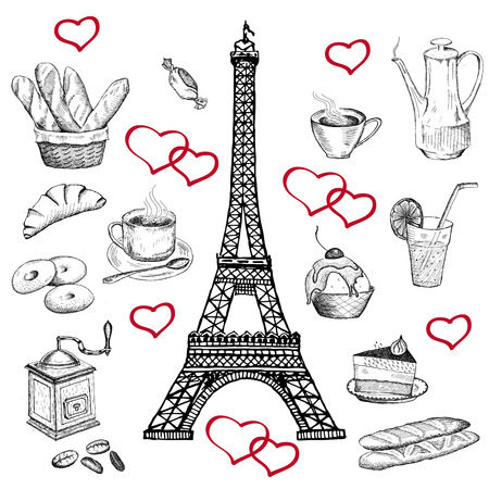 french culture: at the Eiffel Tower. vector