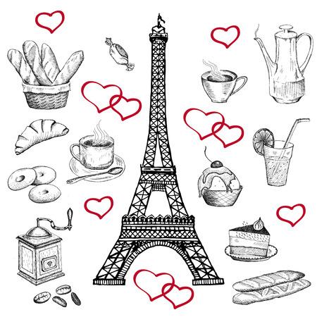 pasteleria francesa: en la Torre Eiffel. vector