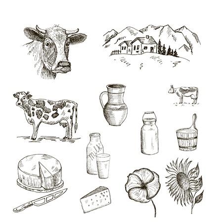 koe en melk. set van vector schetsen