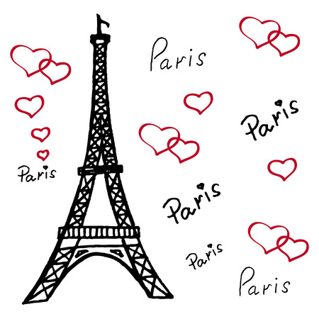 tower: Eiffel Tower in Paris. set of vector sketches