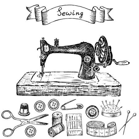 máquina de coser: máquina de coser. Conjunto de dibujos vectoriales