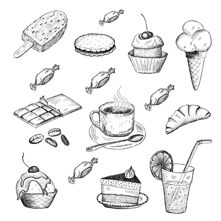 cream tea: sweet time. set of vector sketches Illustration