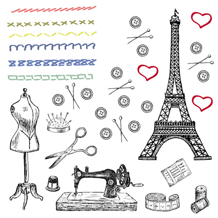 tower: fashion. set of vector sketches Illustration
