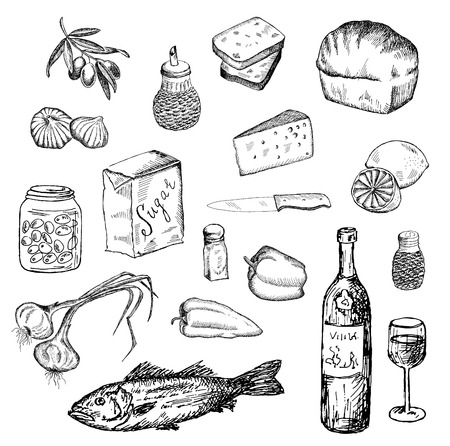 vissen en andere levensmiddelen. set van vector schetsen