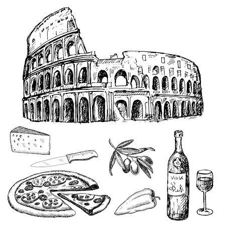 italian dinner. set of vector sketches