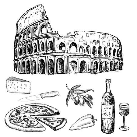 italian dinner. set of vector sketches