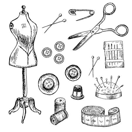 needle and thread: mannequin. set of vector sketches