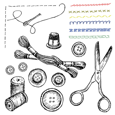 sewing. set of vector sketches