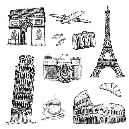 travel time. set of vector sketches Illustration