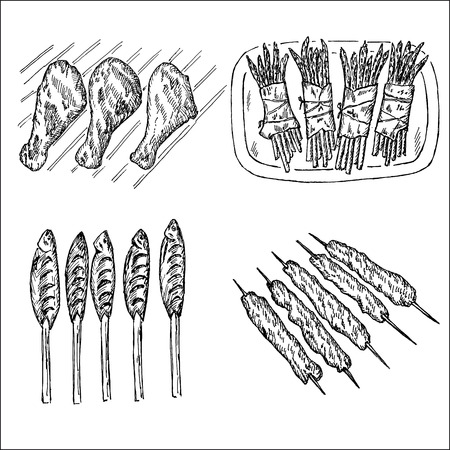 grill and barbecue. set of vector sketches Vector