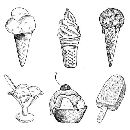 ベクトルのスケッチの甘いアイス クリーム セット