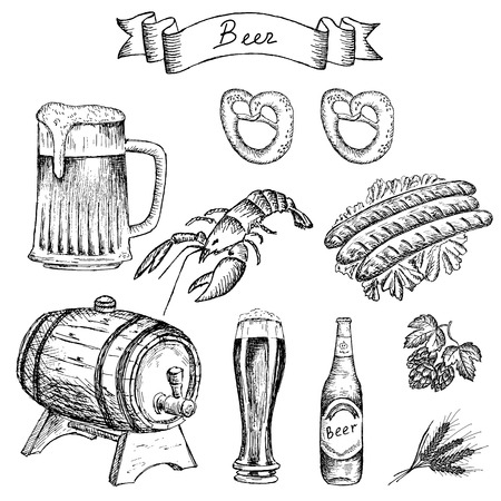 rivierkreeft voor bier set van vector schetsen Stock Illustratie