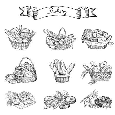 bakkerij hand tekenen set van vector schetsen