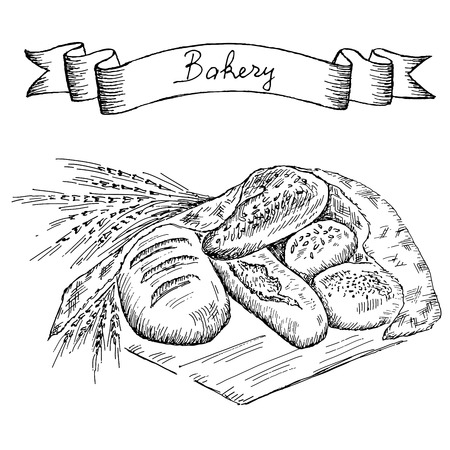 life loaf: bakery  hand drawing set of vector sketches