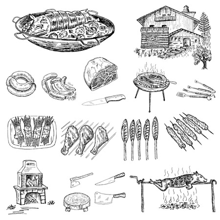 grill en barbecue set van vector schetsen Stock Illustratie