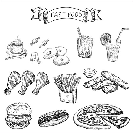 fast food and other food  set of vector sketches Ilustração