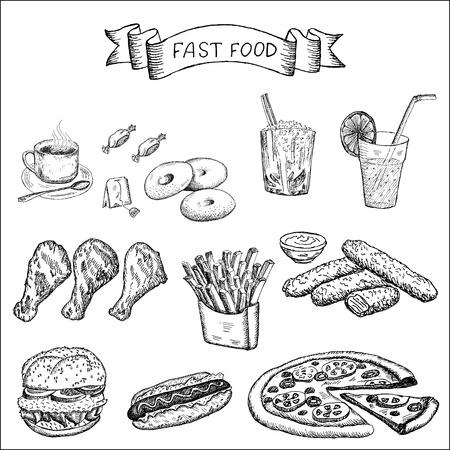 fast food en andere voedingsmiddelen set van vector schetsen Stock Illustratie