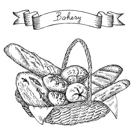 bakkerij hand tekening set van vector schetsen Stock Illustratie