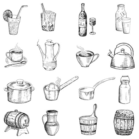 drinks and tableware Vector